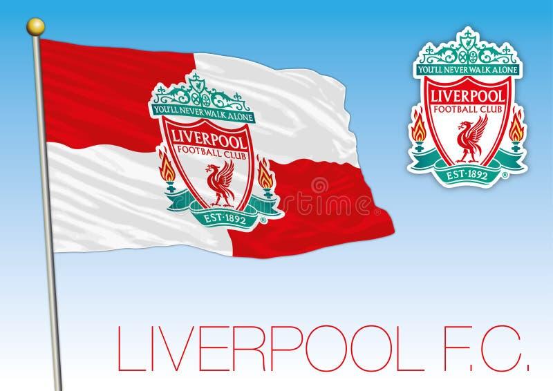 De vlag van de de voetbalclub van Liverpool en kam, Engeland 2018 stock illustratie