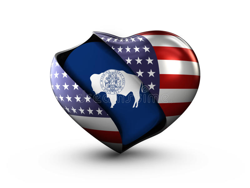 De vlag van Wyoming van de Staat van de V.S. op witte achtergrond royalty-vrije illustratie