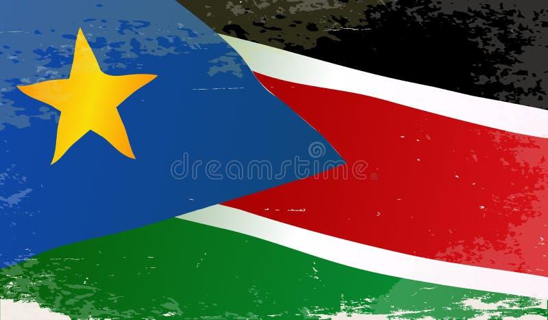 De Vlag van Zuid-Soedan Grunge stock illustratie