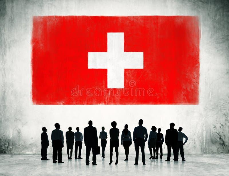 De Vlag van Zwitserland stock afbeeldingen