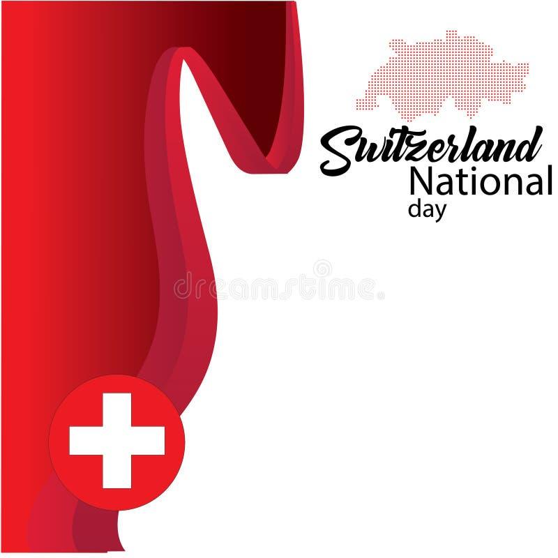 De vlag van Zwitserland, gelukkige Zwitserse nationale dag - Vector stock illustratie