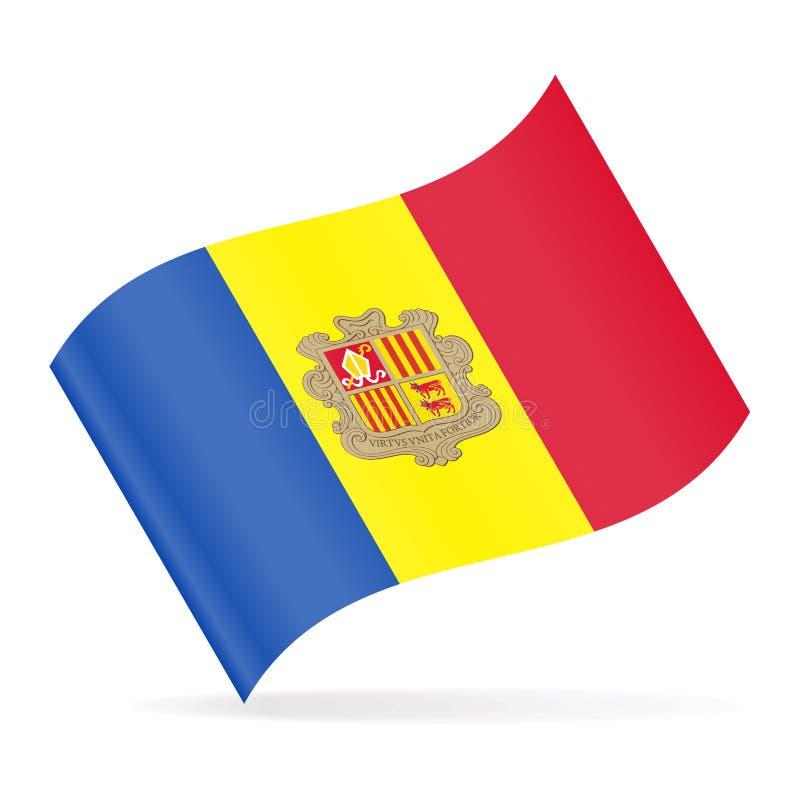 De Vlag Vector Golvend Pictogram van Andorra stock illustratie
