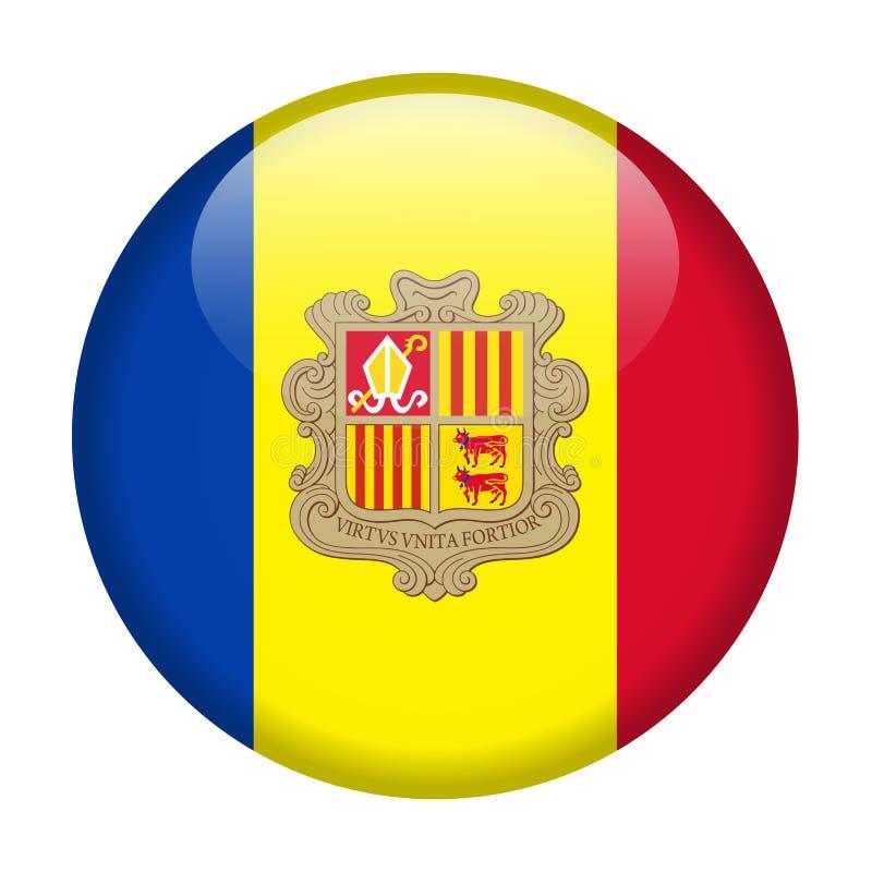 De Vlag Vector Rond Pictogram van Andorra royalty-vrije illustratie