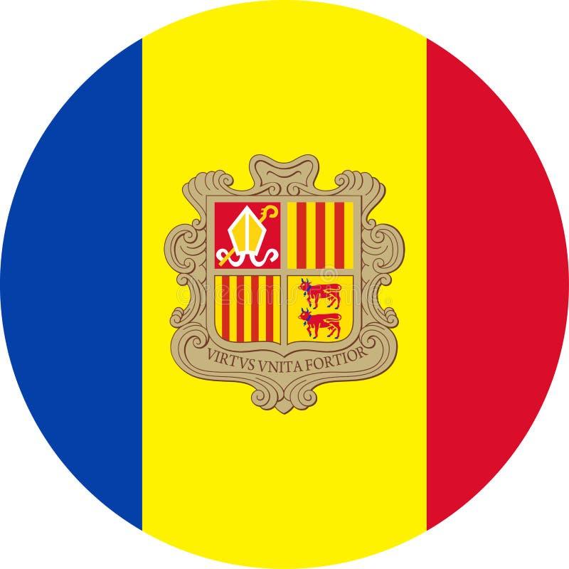 De Vlag Vector Rond Vlak Pictogram van Andorra stock illustratie