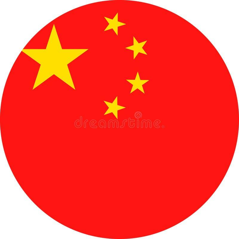 De Vlag Vector Rond Vlak Pictogram van China vector illustratie