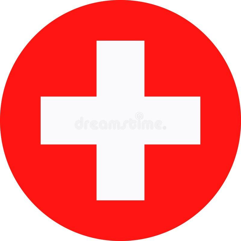 De Vlag Vector Rond Vlak Pictogram van Zwitserland stock illustratie
