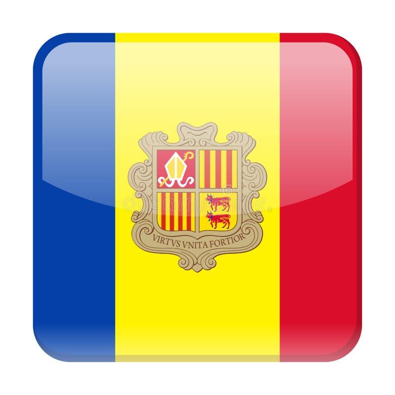 De Vlag Vector Vierkant Pictogram van Andorra stock illustratie