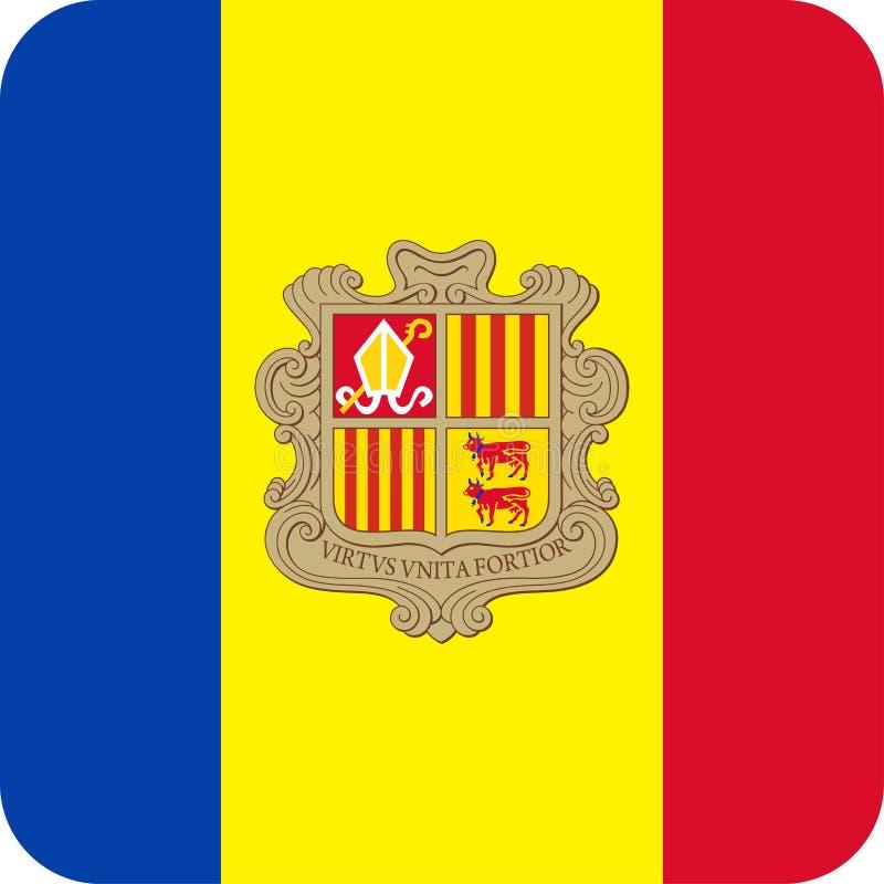 De Vlag Vector Vierkant Vlak Pictogram van Andorra stock illustratie