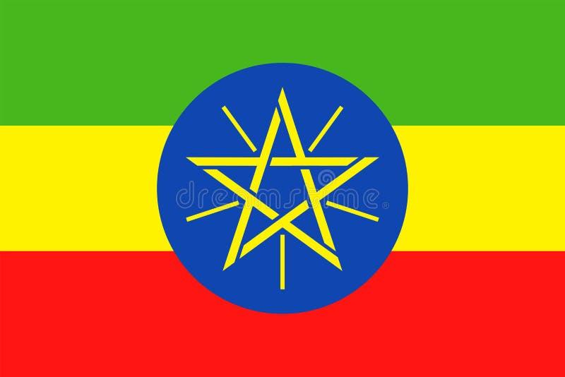 De Vlag Vector Vlak Pictogram van Ethiopië stock illustratie