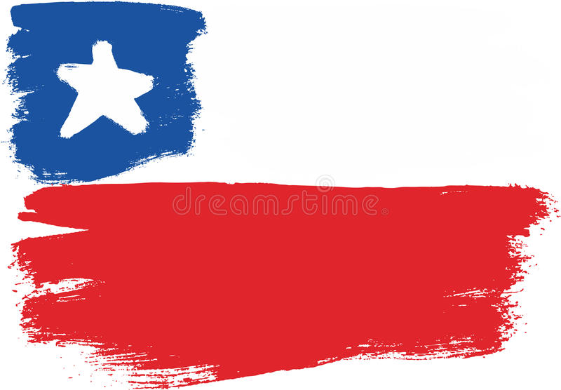 De Vlag VectordieHand van Chili met Rond gemaakte Borstel wordt geschilderd royalty-vrije illustratie