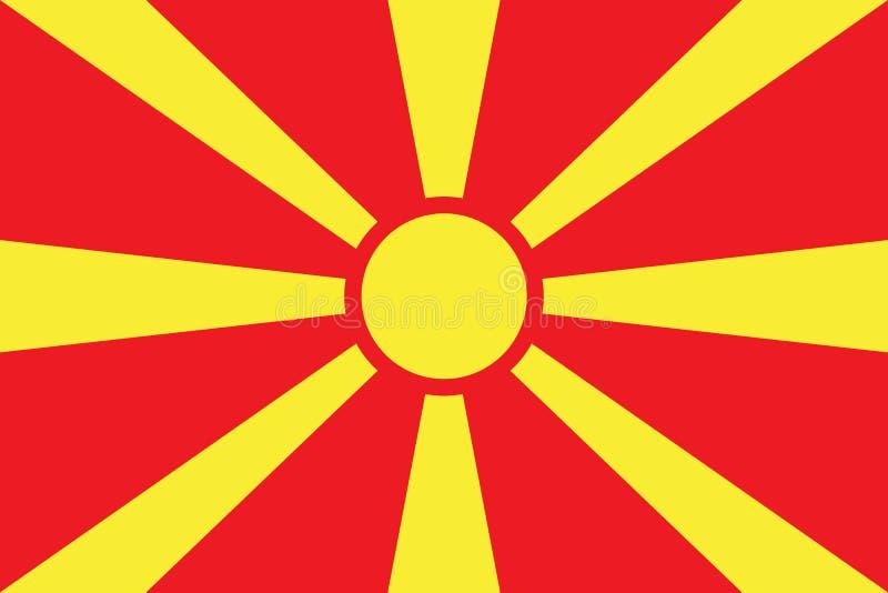 De Vlag vectorillustratie van Macedonië De vlag van Macedonië royalty-vrije illustratie