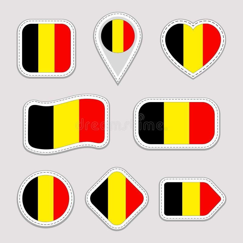 De Vlag Vectorreeks van België De Belgische nationale inzameling van vlaggenstickers De vector isoleerde geometrische pictogramme stock illustratie