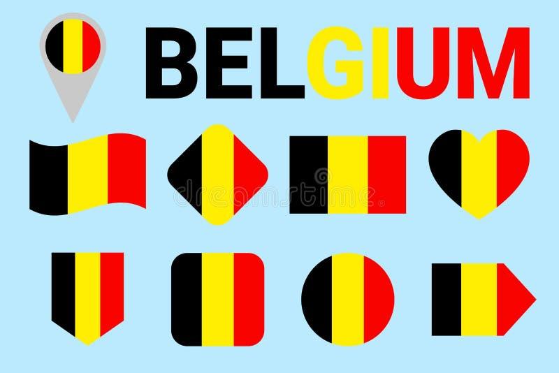 De Vlag Vectorreeks van België Verschillende geometrische vormen Vlakke stijl Belgische vlaggeninzameling Voor nationale sporten, stock illustratie