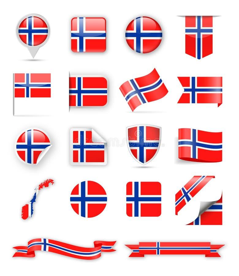 De Vlag Vectorreeks van Noorwegen royalty-vrije illustratie