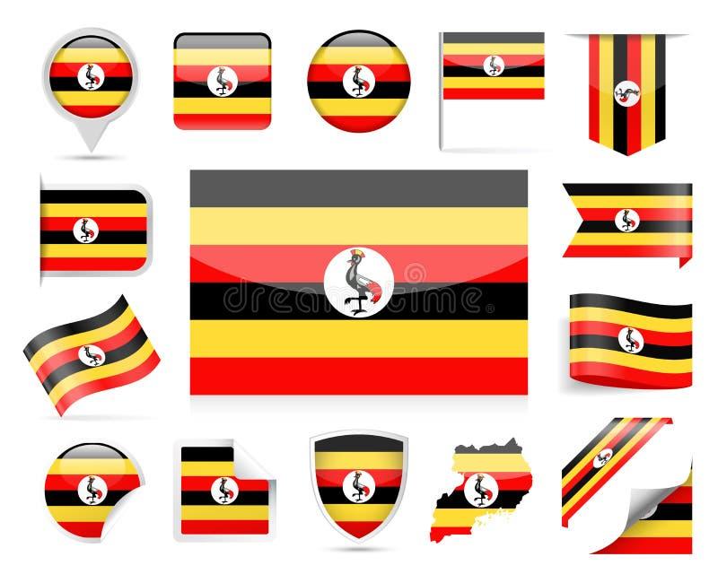 Download De Vlag Vectorreeks Van Oeganda Stock Illustratie - Illustratie bestaande uit gebeurtenis, vrijheid: 107703131