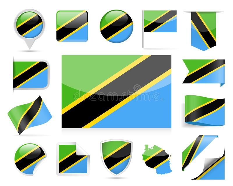 Download De Vlag Vectorreeks Van Tanzania Stock Illustratie - Illustratie bestaande uit campagne, knoop: 107702787