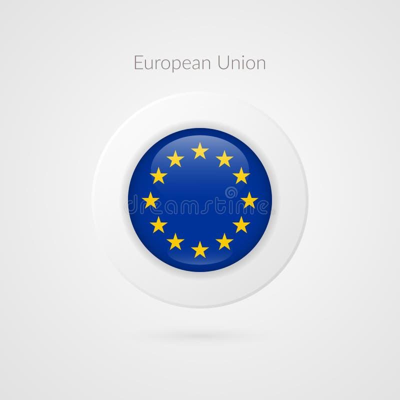 De vlag vectorteken van Europa Geïsoleerd Europese Unie cirkelsymbool De EU-illustratiepictogram met sterren voor bedrijfsproject stock illustratie