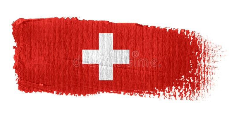 De Vlag Zwitserland van de penseelstreek vector illustratie
