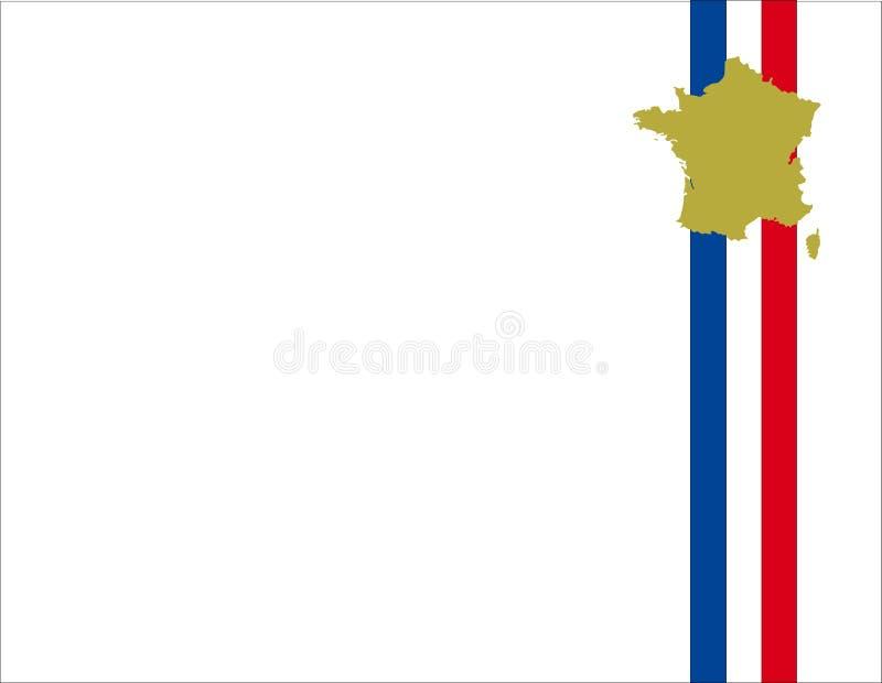 De vlagachtergrond en kaart van Frankrijk vector illustratie