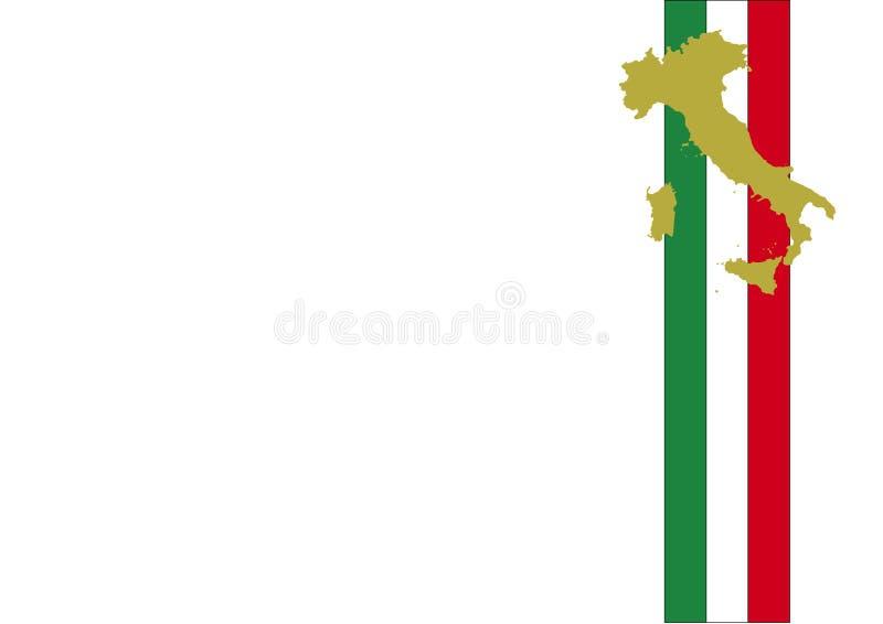 De vlagachtergrond en kaart van Italië stock illustratie