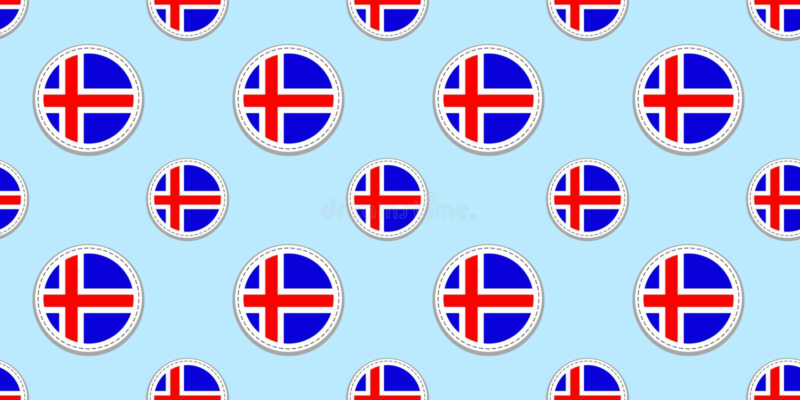 De vlagachtergrond van IJsland Ijslandse ronde vormen Naadloos patroon Vectorcirkelpictogrammen Geometrische symbolen textuur voo stock illustratie
