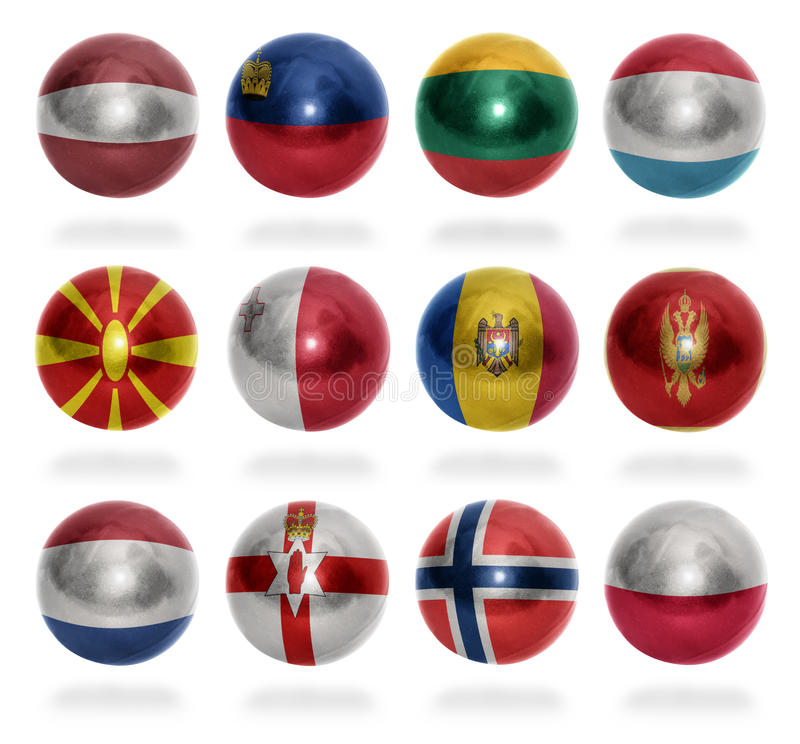 De vlagballen Europese van landen (van L aan P) stock fotografie