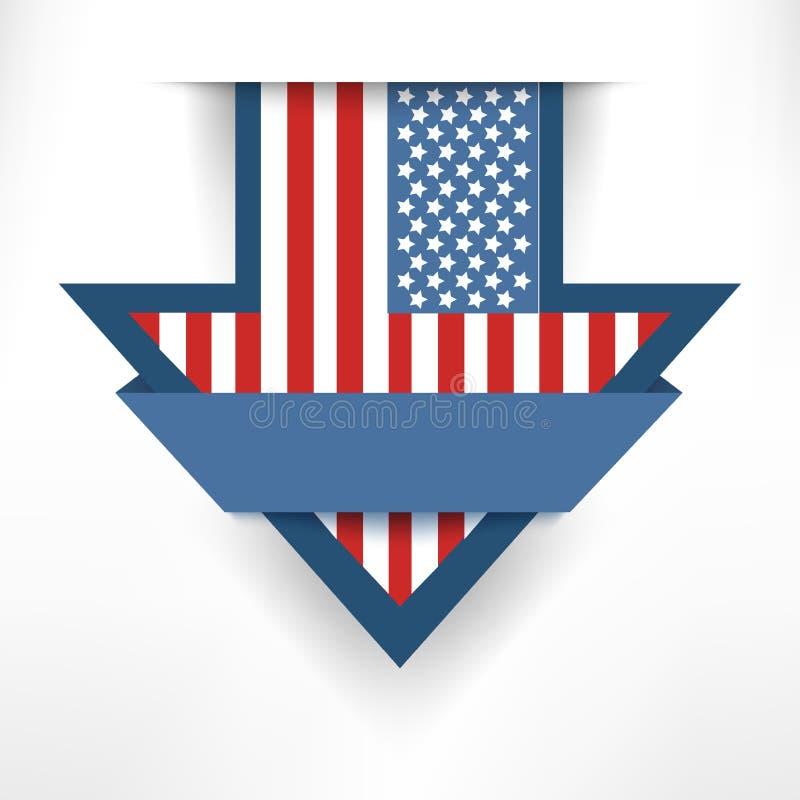 De vlagetiket van de vakantiepijl het Amerikaanse hangen op de muur vector illustratie