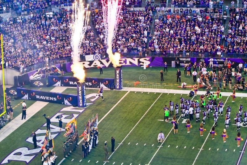De Vlaggen, de Vlammen en het Vuurwerk van de Voetbal NFL! stock fotografie