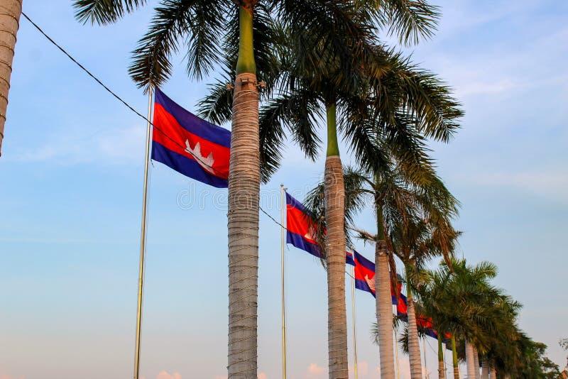De vlaggen en de palmen van Kambodja in de hemel stock foto