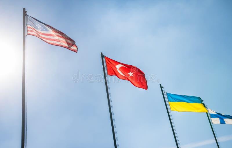 De Vlaggen, Turkije en de Oekraïne van de V.S. stock afbeelding