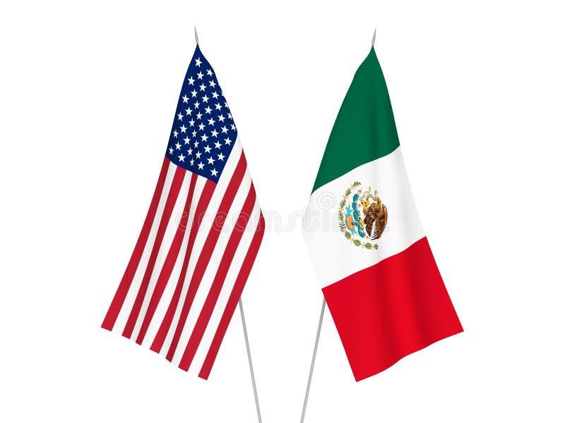 De vlaggen van Amerika en van Mexico vector illustratie