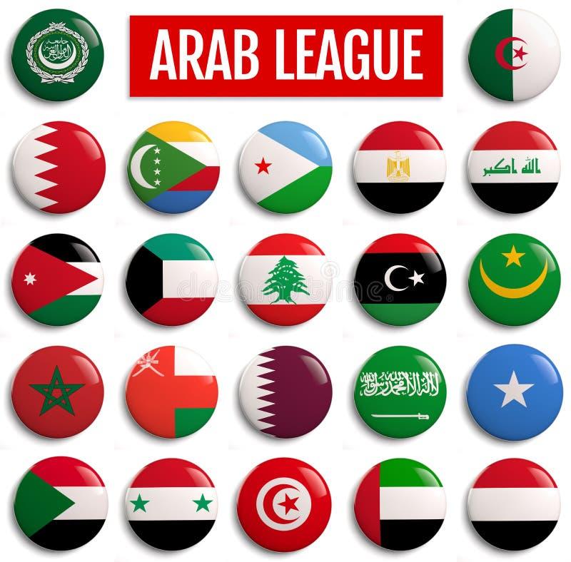 De Vlaggen van Arabische Ligalanden stock illustratie