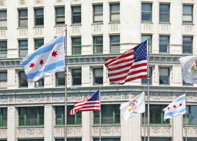 De vlaggen van Chicago royalty-vrije stock afbeeldingen