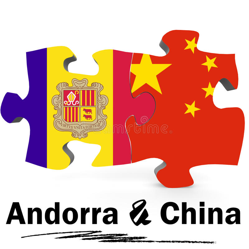 De vlaggen van China en van Andorra in raadsel stock illustratie