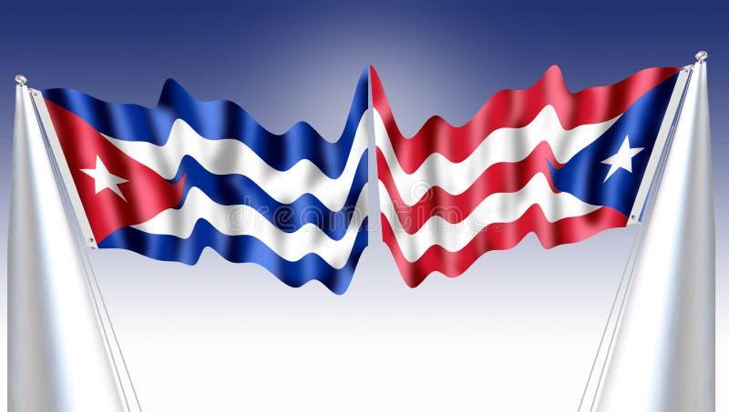 De vlaggen van Cubaan en van Puerto Rico The zijn opzettelijk zeer gelijkaardig, aangezien de Cubaanse Revolutionaire Partij bepl stock illustratie