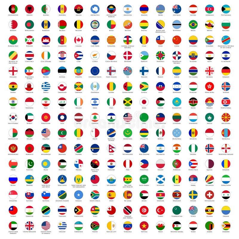 De Vlaggen van de cirkel van de Wereld stock illustratie