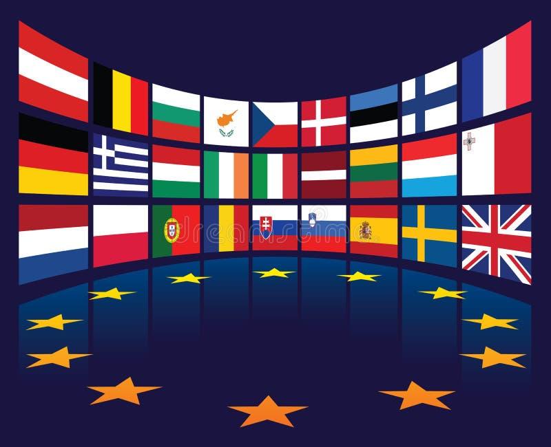 De vlaggen van de EU royalty-vrije illustratie
