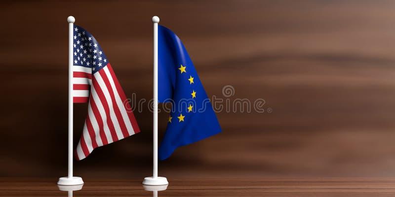 De vlaggen van de EU en van de V.S. op houten achtergrond 3D Illustratie vector illustratie