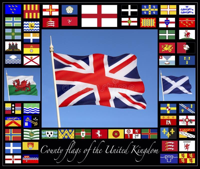 De Vlaggen van de provincie van het Verenigd Koninkrijk stock afbeelding