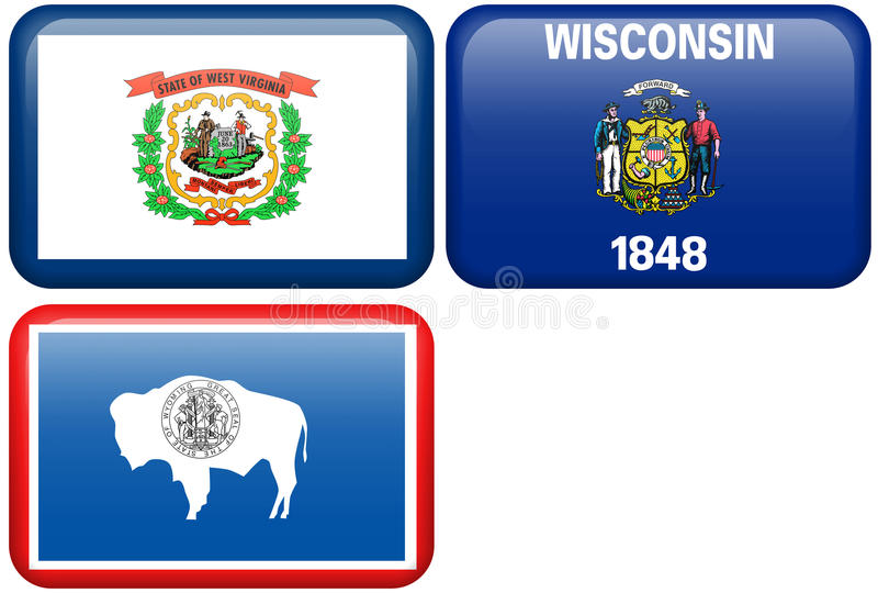 De Vlaggen van de staat: West- Virginia, Wisconsin, Wyoming vector illustratie
