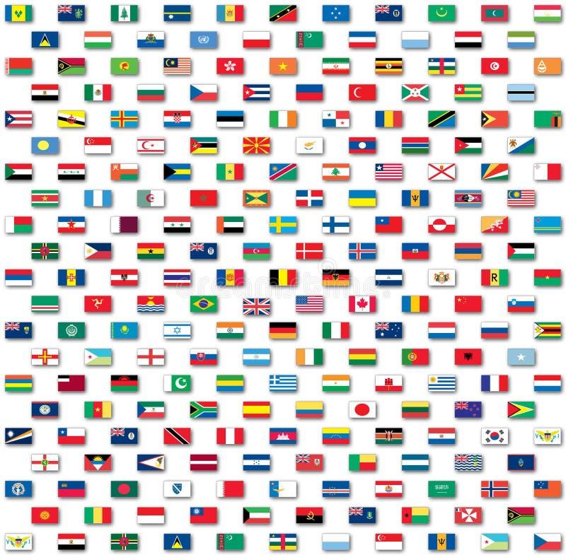De vlaggen van de wereld die op wit worden geïsoleerdr royalty-vrije illustratie
