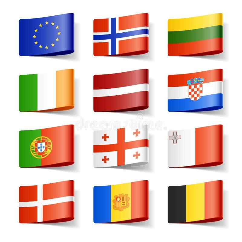 De vlaggen van de wereld. Europa. stock illustratie