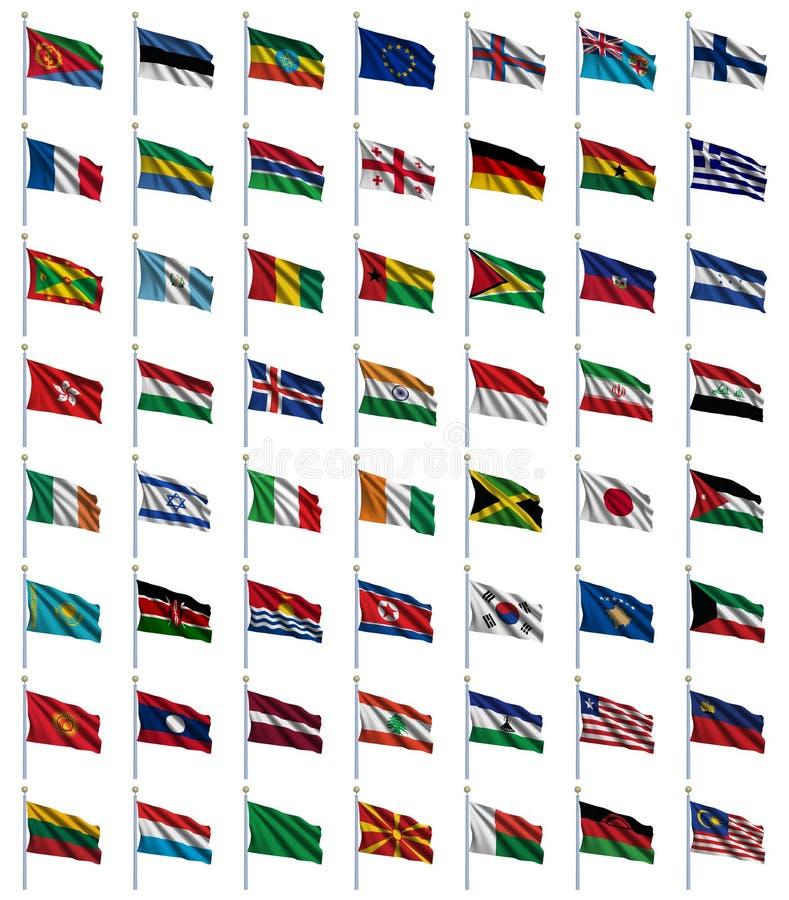 De Vlaggen van de wereld plaatsen 2 van 4 stock illustratie