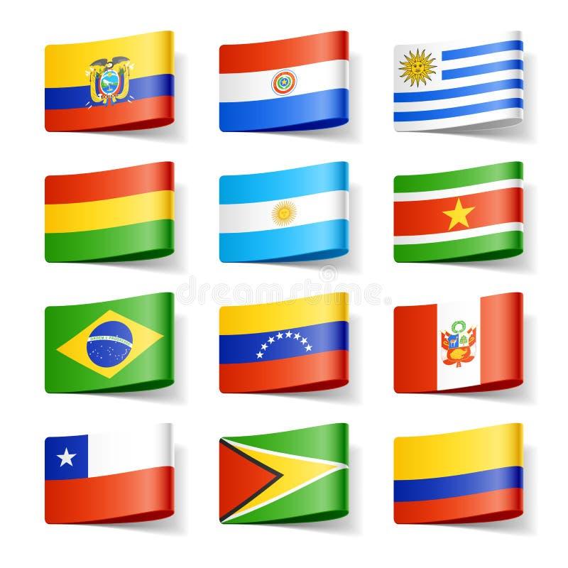 De vlaggen van de wereld. Zuid-Amerika. vector illustratie