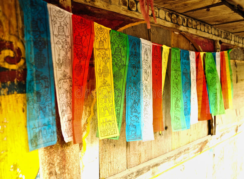 De vlaggen van het gebed stock afbeeldingen