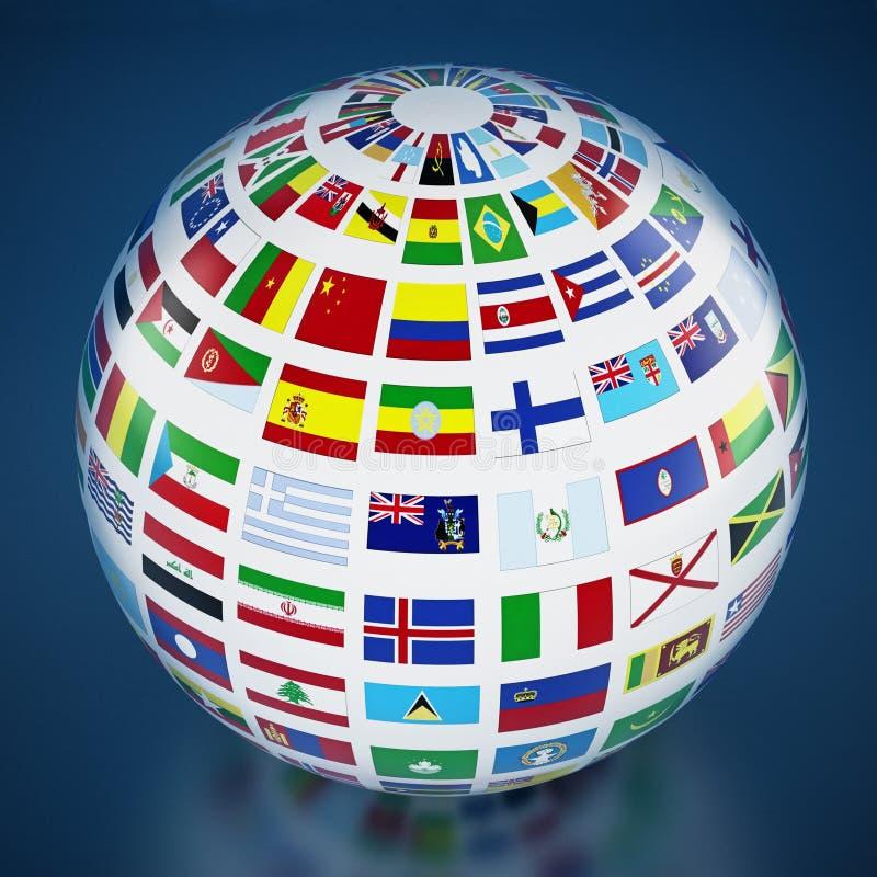De vlaggen van het land rond de bol op blauwe achtergrond 3D Illustratie stock illustratie