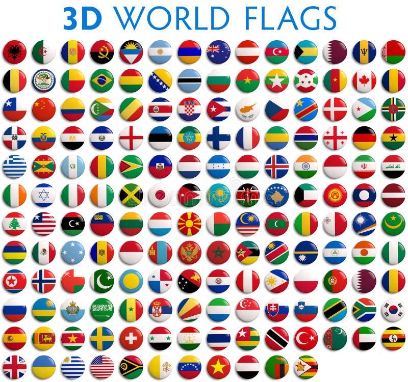 De Vlaggen van het land van de Wereld stock illustratie