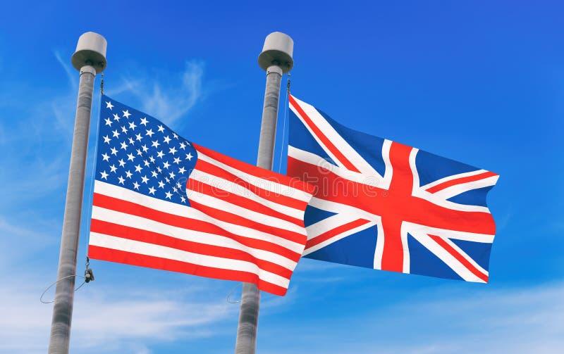 De vlaggen van het Verenigd Koninkrijk en van de V.S. royalty-vrije illustratie