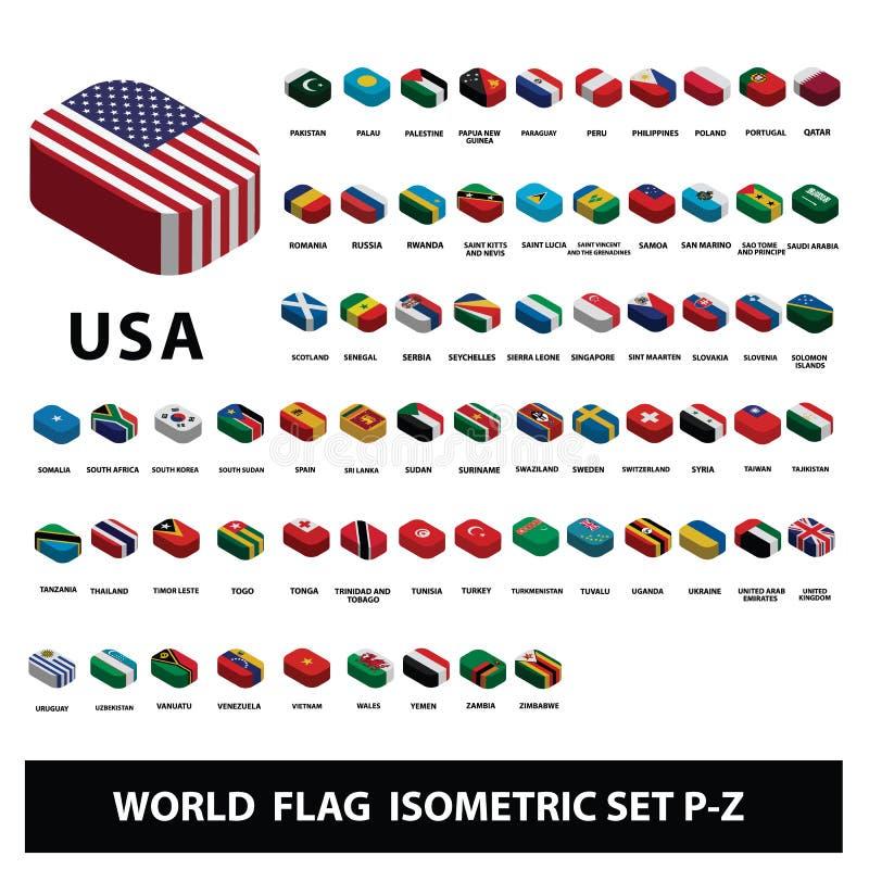De vlaggen van de Inzameling van wereldlanden markeert Isometrisch Vastgesteld p-z stock illustratie