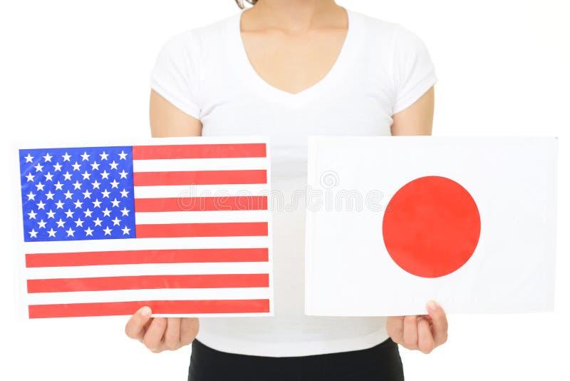 De Vlaggen van Japan & van Amerika stock afbeeldingen